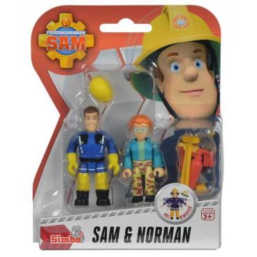 Požárník Sam - dvě figurky s příslušenstvím (Sam a Norman)