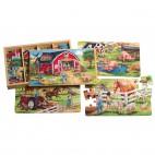 Dřevěné puzzle Farma 4 v 1