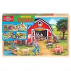 0999 Dřevěné puzzle 96 dílků Farma