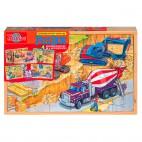 0990 Drevené puzzle 96 dielikov Stavba