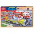 0998 Dřevěné puzzle 96 dílků Hasiči