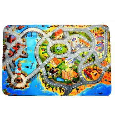 Dětský koberec Ultra Soft Město s pláží, 130 x 180 cm
