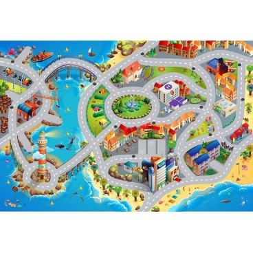 Dětský koberec Město s pláží, 80 x 120 cm