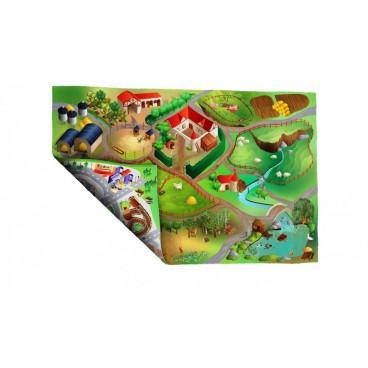 Dětský koberec oboustranný Město-farma, 100 x 150 cm