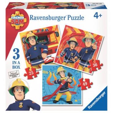 Požárník Sam puzzle 3v1 (25 + 36 + 49 dílků)