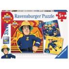 Požárník Sam puzzle: V nebezpečí 3 x 49 dílků