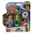 Požárník Sam - dvě figurky s příslušenstvím (Sara, James a kocour)
