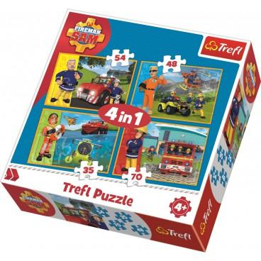 Požárník Sam Puzzle 4v1 II. (35 + 48 + 54 + 70 dílků)