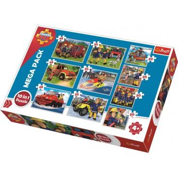 Požárník Sam puzzle: 10v1 pack 4x20, 3x35, 3x48 dílků