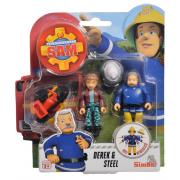 Požárník Sam - dvě figurky s příslušenstvím (Derek a Steel)