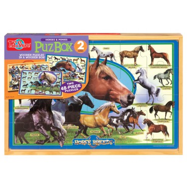 9910 Dřevěné puzzle 96 dílků Koně