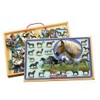 Dřevěné puzzle 96 dílků Koně